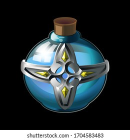 Old bottle with metal cross and diamonds, magical holy water in glass or liquid poison drink of alchemy or chemistry. illustration vector game icon, item. Magnificent elixir isolated on background.