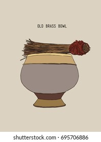 Old brass bowl of holy water, hand drawn sketch vector.