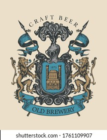 Old brewery coat of arms in vintage style. Hand-drawn illustration on craft beer theme. Suitable for brewery, pub and bar design. Vector heraldry with lions, spears, knightly helmet and shield