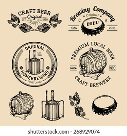 Old brewery logos set. Kraft beer retro signs or icons with hand sketched glass, barrel, bottle, cap, kettle, herbs and plants. Vector vintage homebrewing labels or badges.