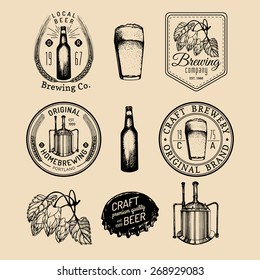 Old brewery logos set. Kraft beer retro signs or icons with hand sketched glass, bottle, mug, kettle, herbs and plants. Vector vintage homebrewing labels or badges.