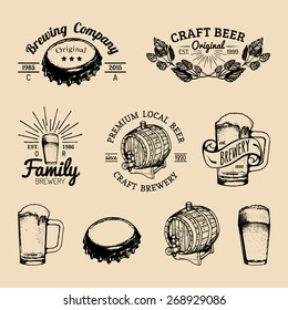 Old brewery logos set. Kraft beer retro signs or icons with hand sketched glass, barrel, cap, mug, herbs and plants. Vector vintage homebrewing labels or badges.