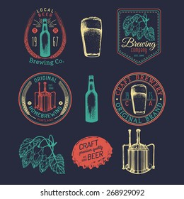 Old brewery logos set. Kraft beer retro signs or icons with hand sketched glass, kettle, barrel, bottle, mug, kettle, herbs and plants. Vector vintage homebrewing labels or badges.
