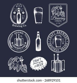 Old brewery logos set. Kraft beer retro signs or icons with hand sketched glass, barrel, bottle, cap, mug, kettle, herbs and plants. Vector vintage homebrewing labels or badges.