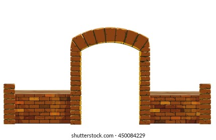 Old brick arch on a white background