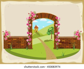 Old brick arch and summer landscape