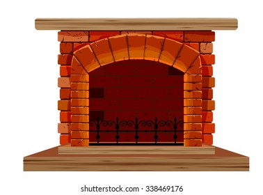 The old brick fireplace