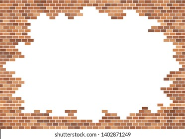 Old brick wall background. Red bricks texture. Frame border vector. Copy space template.