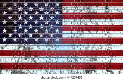 Old brick wall painted in the US flag