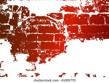 Old brick wall, stained whitewash