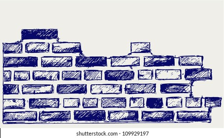 Old bricks. Sketch