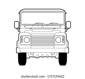 An old British off-road vehicle in front view