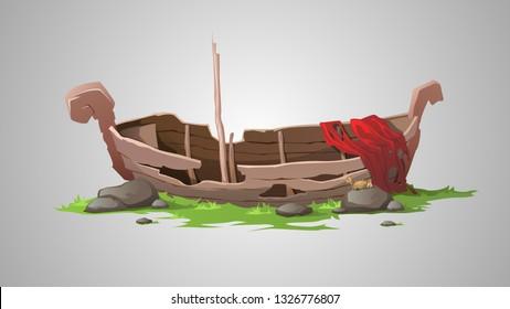 Old broken boat. Vector illustration.