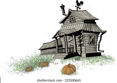 old broken-down, scary halloween house with an overgrown vegetable garden and pumpkins