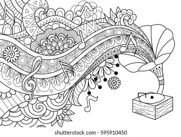 Old bronze Phonograph doodle design for coloring book page, banner,background and design element