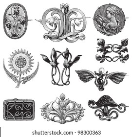 Old brooches collection / vintage illustration from Meyers Konversations-Lexikon 1897