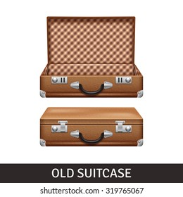 Old brown opened and closed suitcase realistic design isolated vector illustration