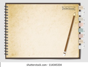Old Brown paper notebook, Vector illustration