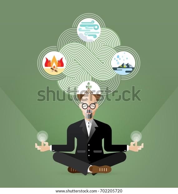 Old businessman in lotus pose meditating