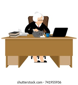 Old businesswoman. Business grandmother. Laptop and cat. Case and business suit. Workplace on chair. Vector illustration