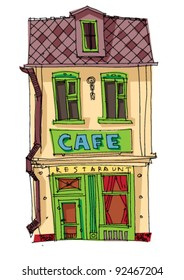 old cafe facades - cartoon