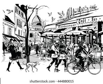 Old cafe in Paris Montmartre - vector illustration