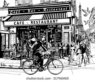 Old cafe in Paris - vector illustration