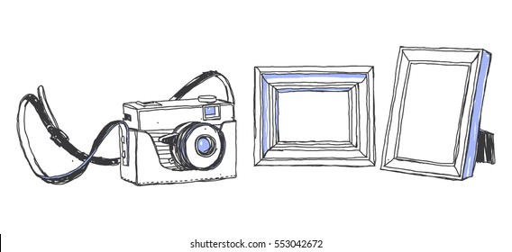 Old camera and photo frames.  Vector hand-drawn sketch. Place for your image.