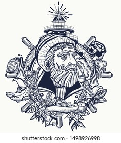 Old captain smokes a pipe. Bearded seaman portrait. Tattoo and t-shirt design. Sea wolf, lighthouse, steering wheel. Ocean adventure tattooing style