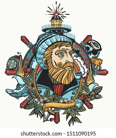 Old captain smokes a pipe. Bearded seaman portrait. Color tattoo and t-shirt design. Sea wolf, lighthouse, steering wheel. Ocean adventure tattooing style