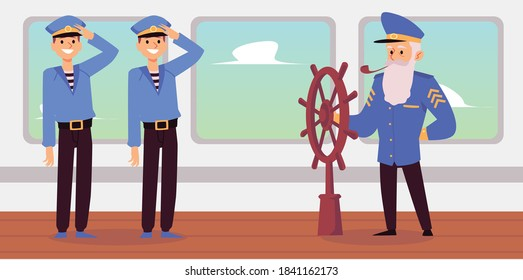 Old captain and young seamen cartoon characters on desk of sea ship, flat vector illustration. Experienced sailor teaching shipboys or students of maritime school.