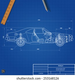 Car blueprint images stock photos vectors shutterstock old car blueprint vector illustration eps 10 malvernweather Choice Image