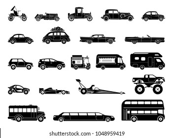 Old car and other vehicle models, classic, oldtimer, extravagant, special purposes vehicles. Collection of signs presenting different modes of transport on land. Transportation icons.