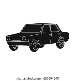 Old car.Car single icon in black style vector symbol stock illustration web.