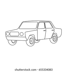 Old car.Car single icon in outline style vector symbol stock illustration web.
