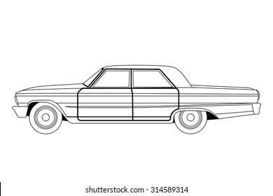 old car sketch vector illustration image. Isolated