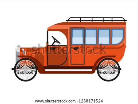 5adbc43998e Old car or vintage retro collector coach bus wehicle vector flat icon