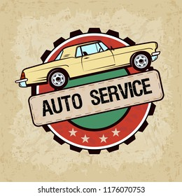 old car in vintage style - vector illustration. Auto service label