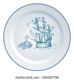 Old caravel. Ship on the Blue Dutch tile. Imitation. Sea monster and ghost ship. Flying Dutchman. Sea battle. Shipwreck. Glazed porcelain ceramic.