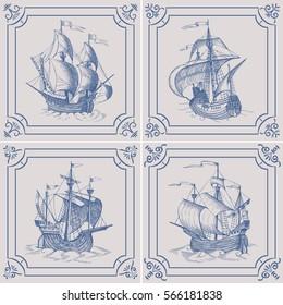 Old caravel. Ship on the Blue Dutch tile, frigate, vintage sailboat, Sailing vessel , glazed porcelain ceramic.