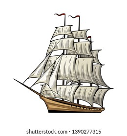 Old caravel, vintage sailboat. Adventure stories.