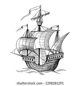 Old caravel, vintage sailboat. Hand drawn sketch. Detail of the old geographical or fantasy maps of sea