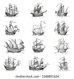 Old caravel, vintage sailboat. Hand drawn vector sketch. Detail of the old geographical maps of sea