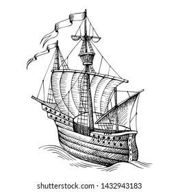 Old caravel, vintage sailboat. Hand drawn sketch. Detail of the old geographical maps of sea