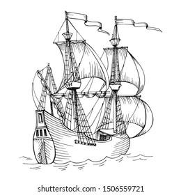 Old caravel, vintage sailboat. Hand drawn sketch vector.