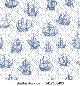 Old caravel, vintage sailboat. Monochrome Hand drawn sketch. Vector seamless pattern for boy. Detail of the old geographical maps of sea.