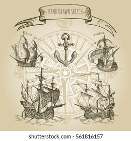 Old caravel, vintage sailboat.  Rose of Wind. Hand drawn vector sketch.  Ancient geographical maps