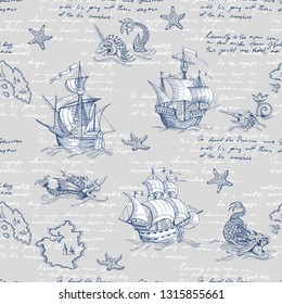 Old caravel, vintage sailboat, sea monster. Monochrome Hand drawn sketch. Vector seamless pattern for boy. Detail of the old geographical maps of sea.