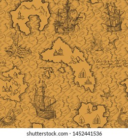 Old caravel, vintage sailboat, sea monster. Vector seamless pattern for boy. Detail of the old geographical maps of sea.