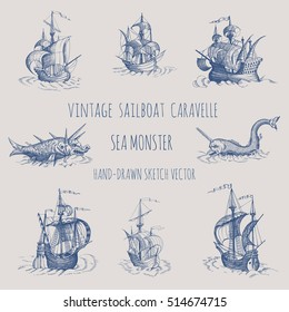 Old caravel, vintage sailboat, sea monster. Monochrome Hand drawn sketch.  Detail of the old geographical maps of sea.